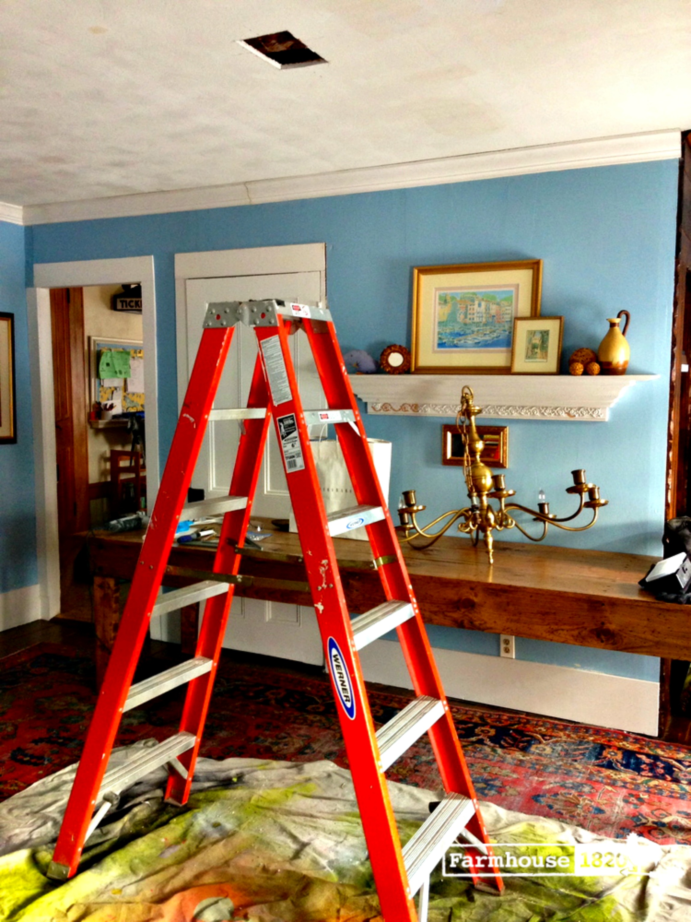 chandelier - cutting a hole in the ceiling