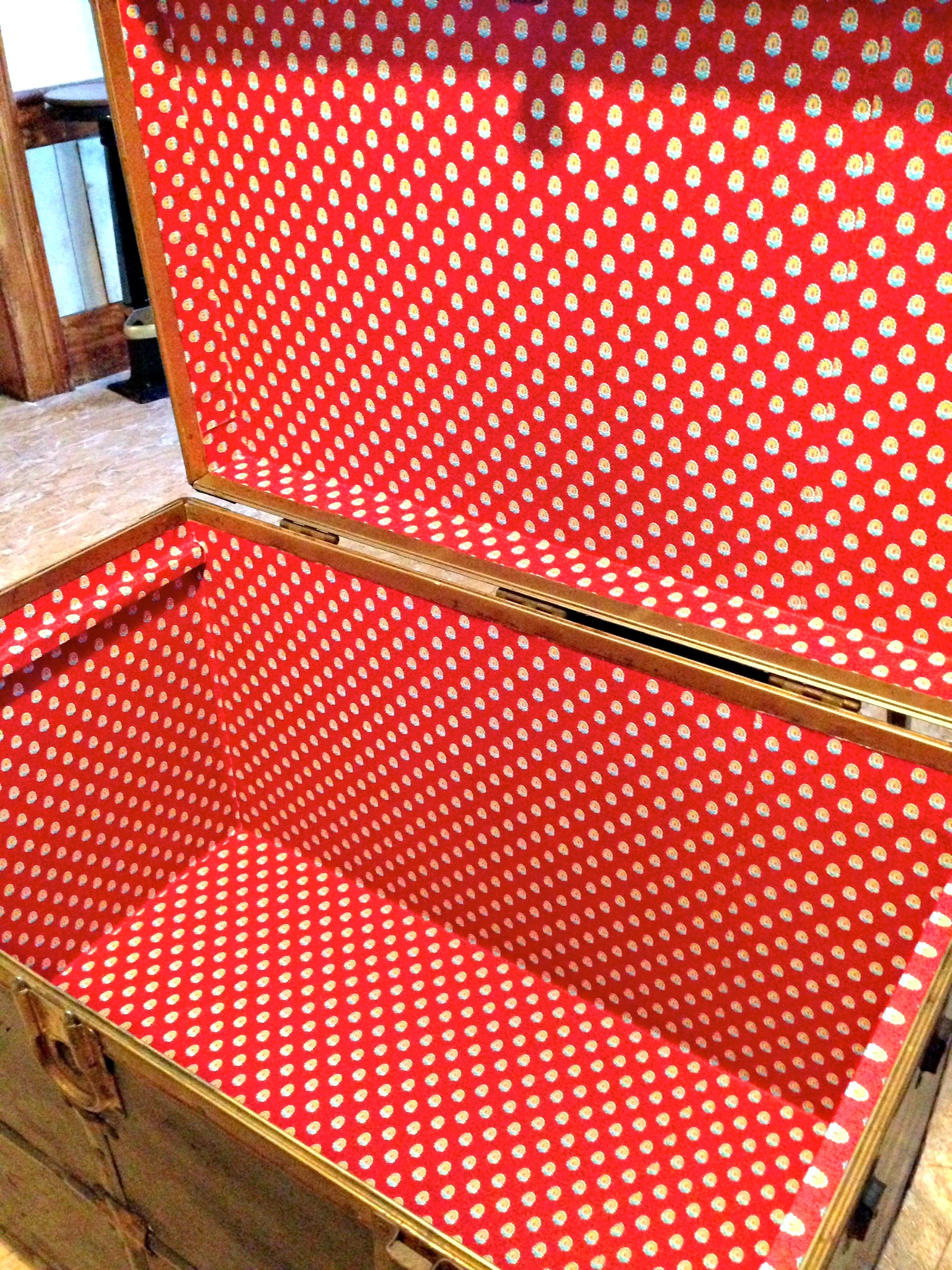 Lining A Steamer Trunk With Wallpaper