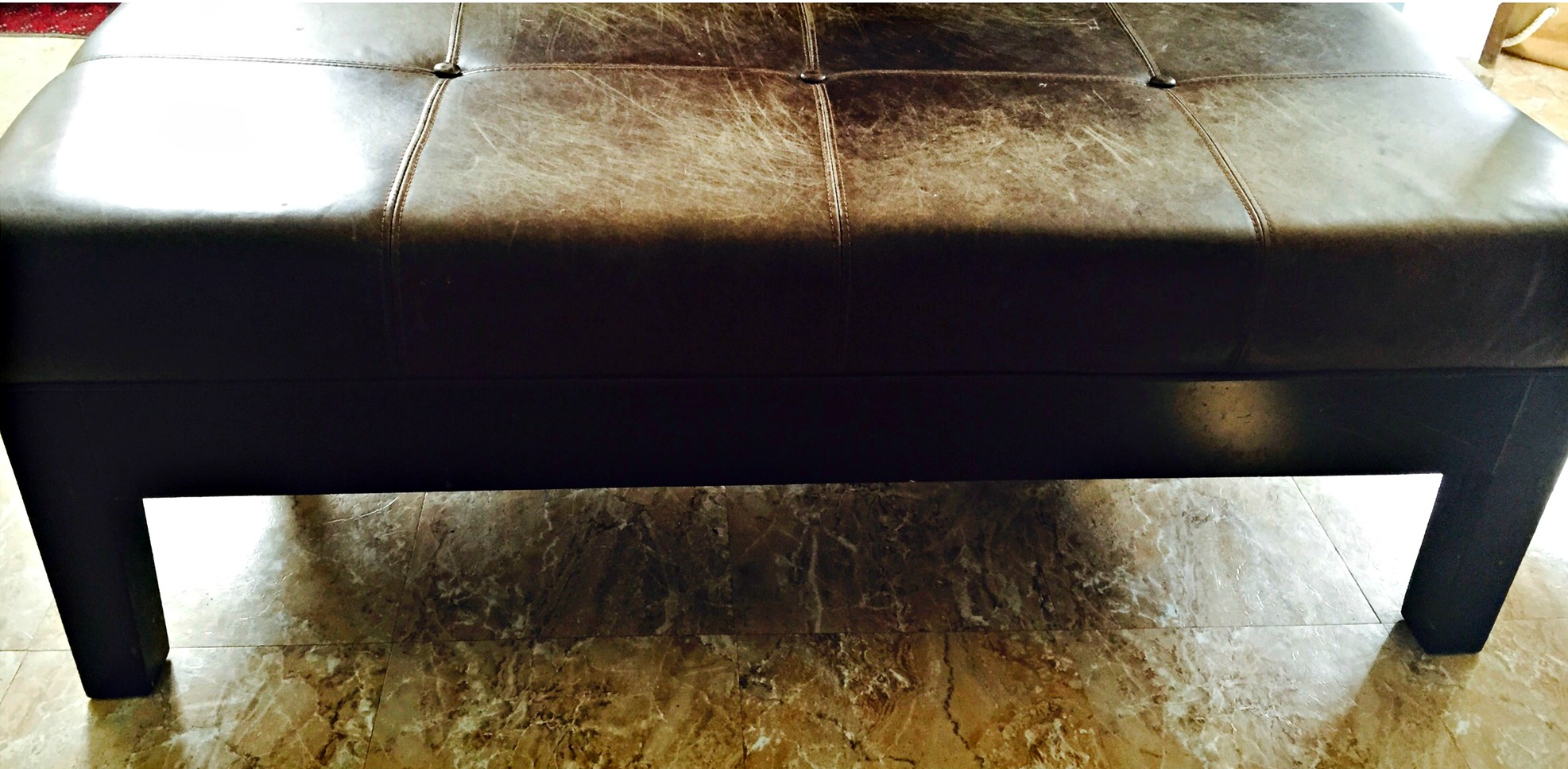 refinished leather bench original