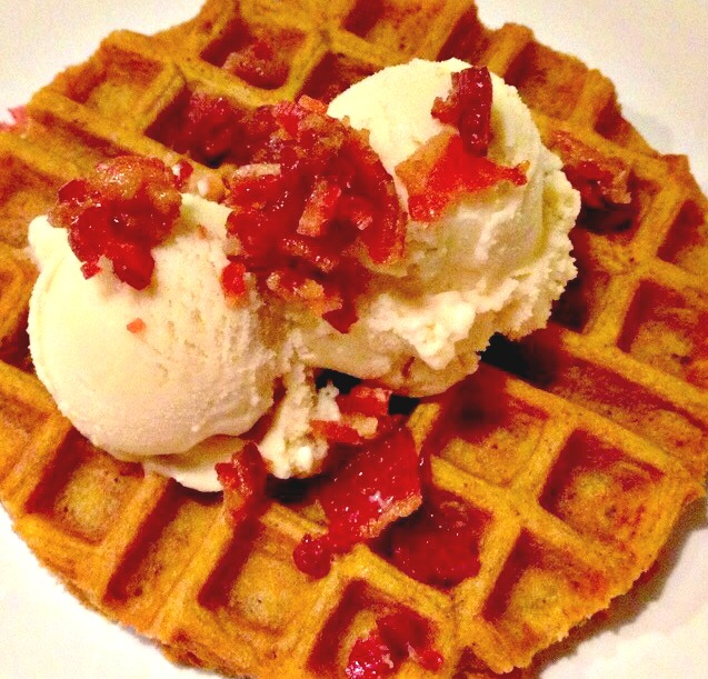 Pumpkin Waffles with Candied Bacon