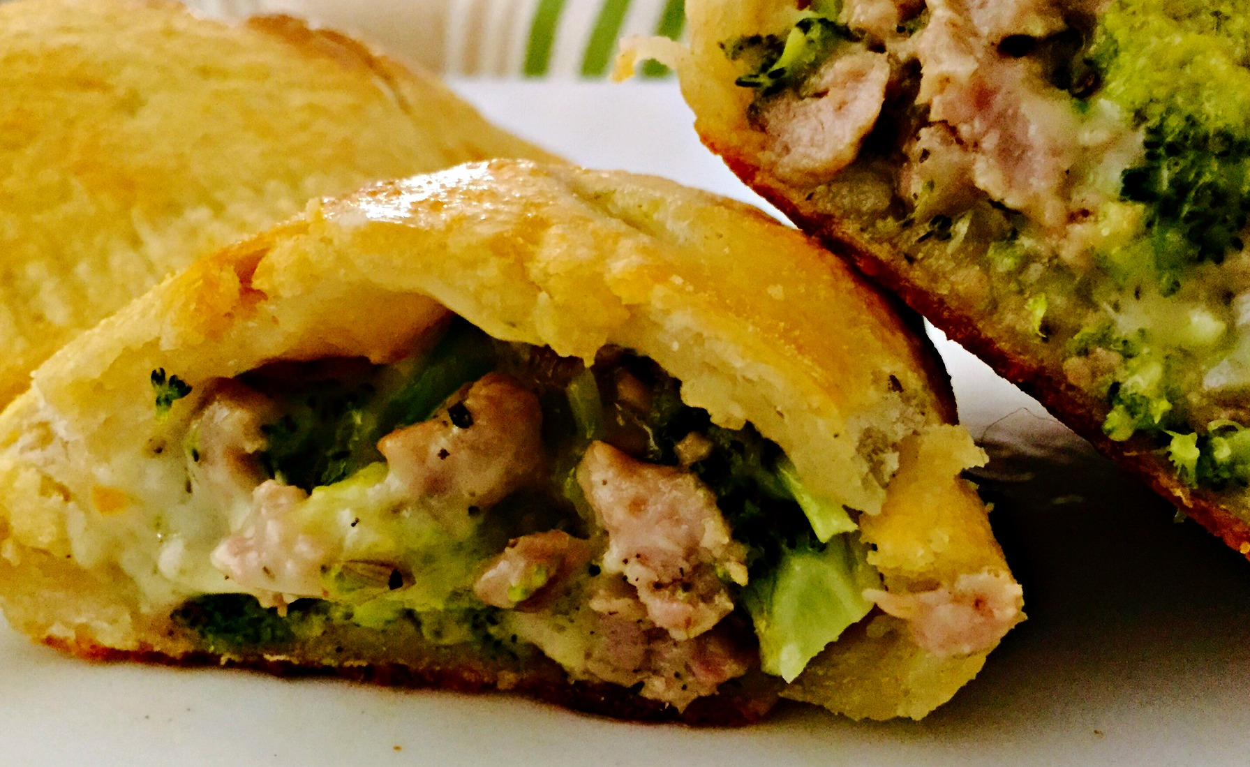 Sausage, Broccoli & Herbed Goat Cheese Calzone