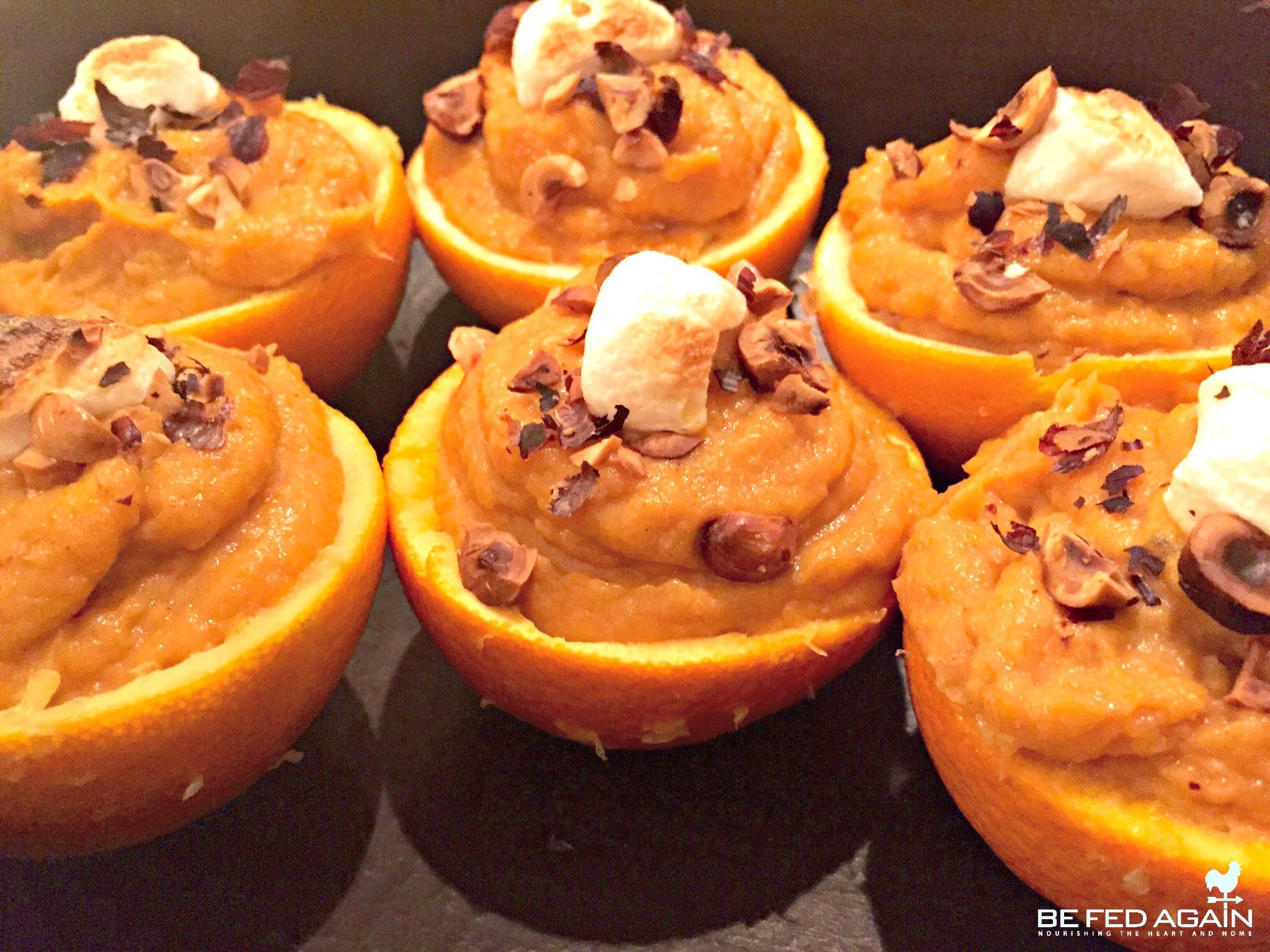 Maple Mashed Sweet Potatoes In Orange Cups