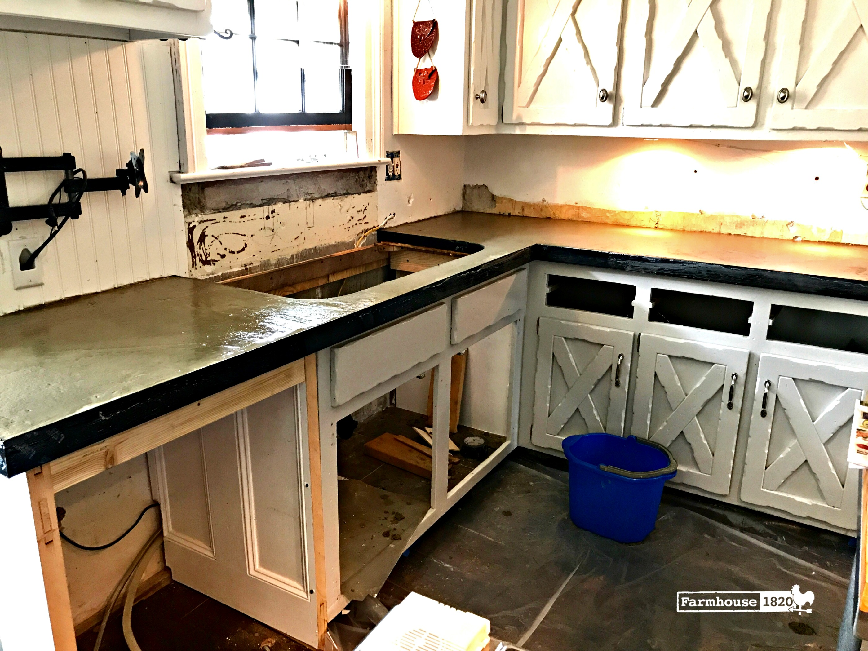 DIY Kitchen Concrete Countertops - Part One - Farmhouse 1820