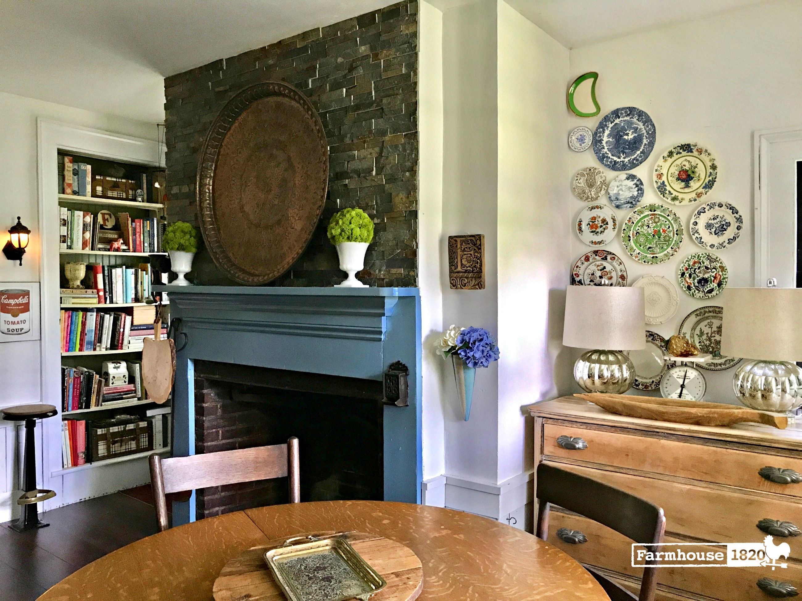 The Kitchen at Farmhouse 1820 - dining by the fireplace