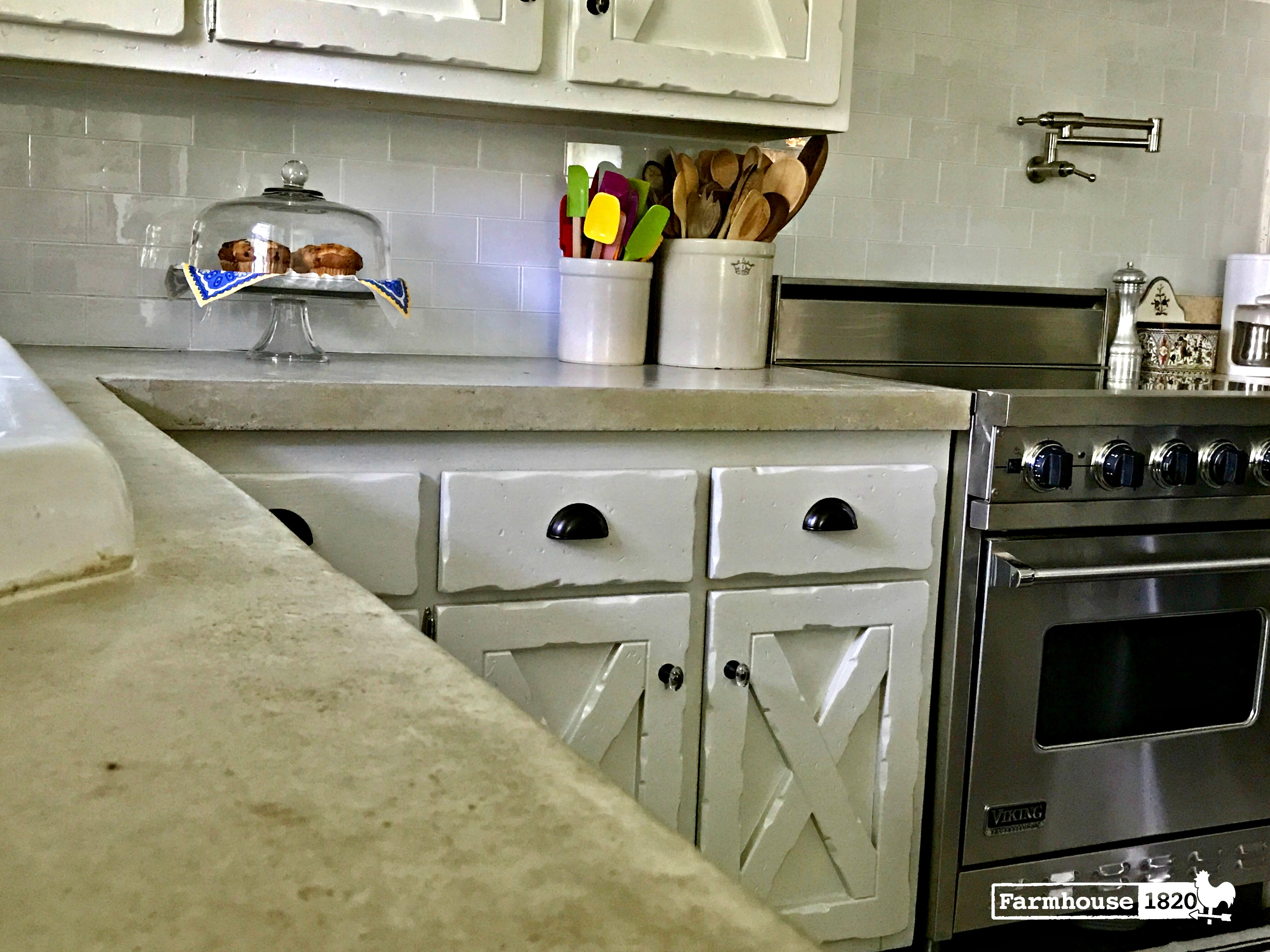 The Kitchen at Farmhouse 1820 - new concrete countertops and Liberty Hardware