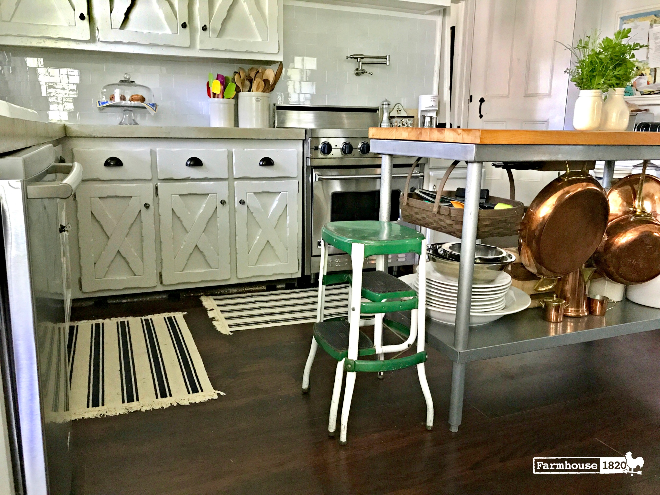 The Kitchen at Farmhouse 1820 - the updated floors and rugs