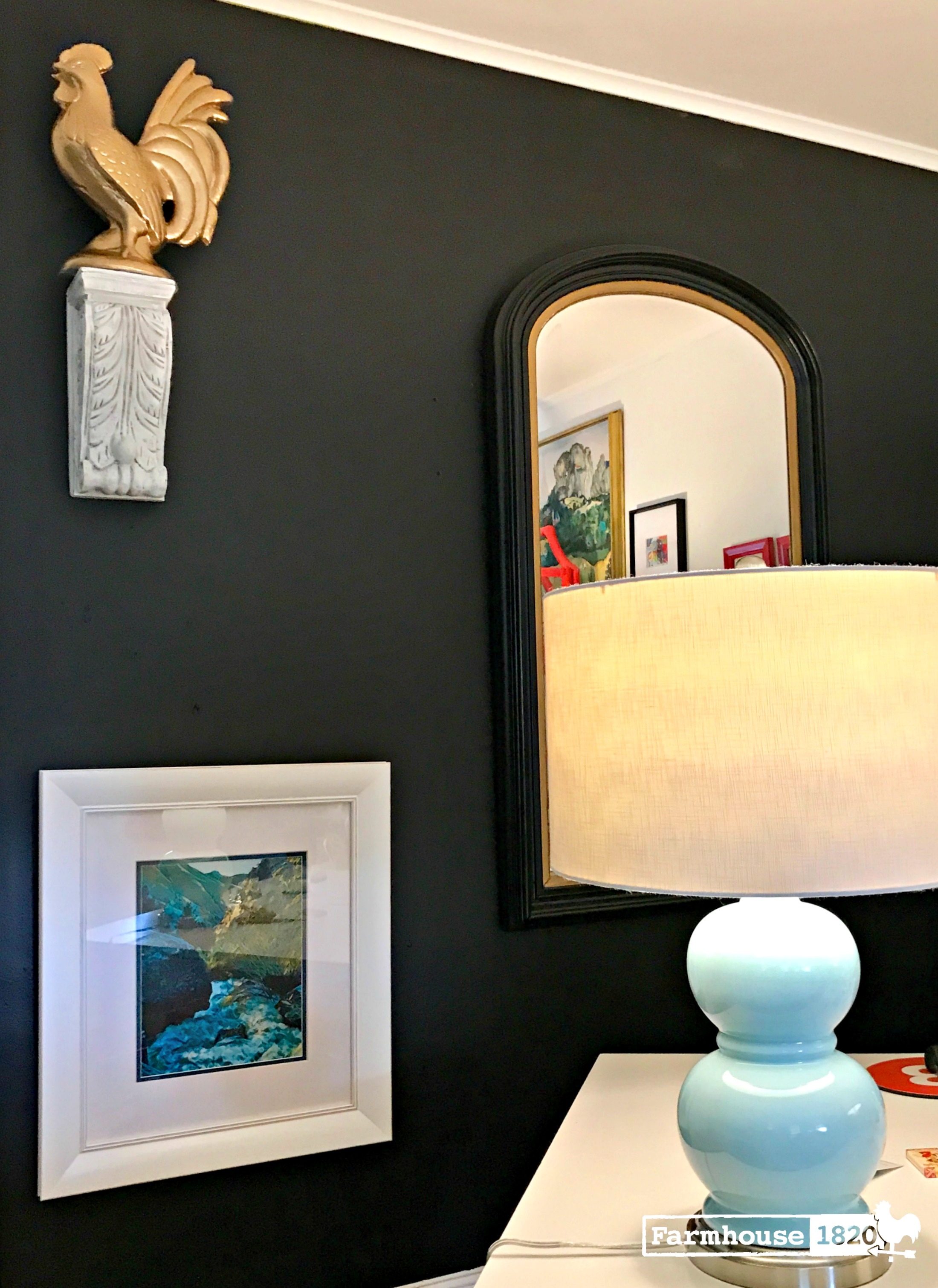 accent wall - sophisticated and calming, black is perfect