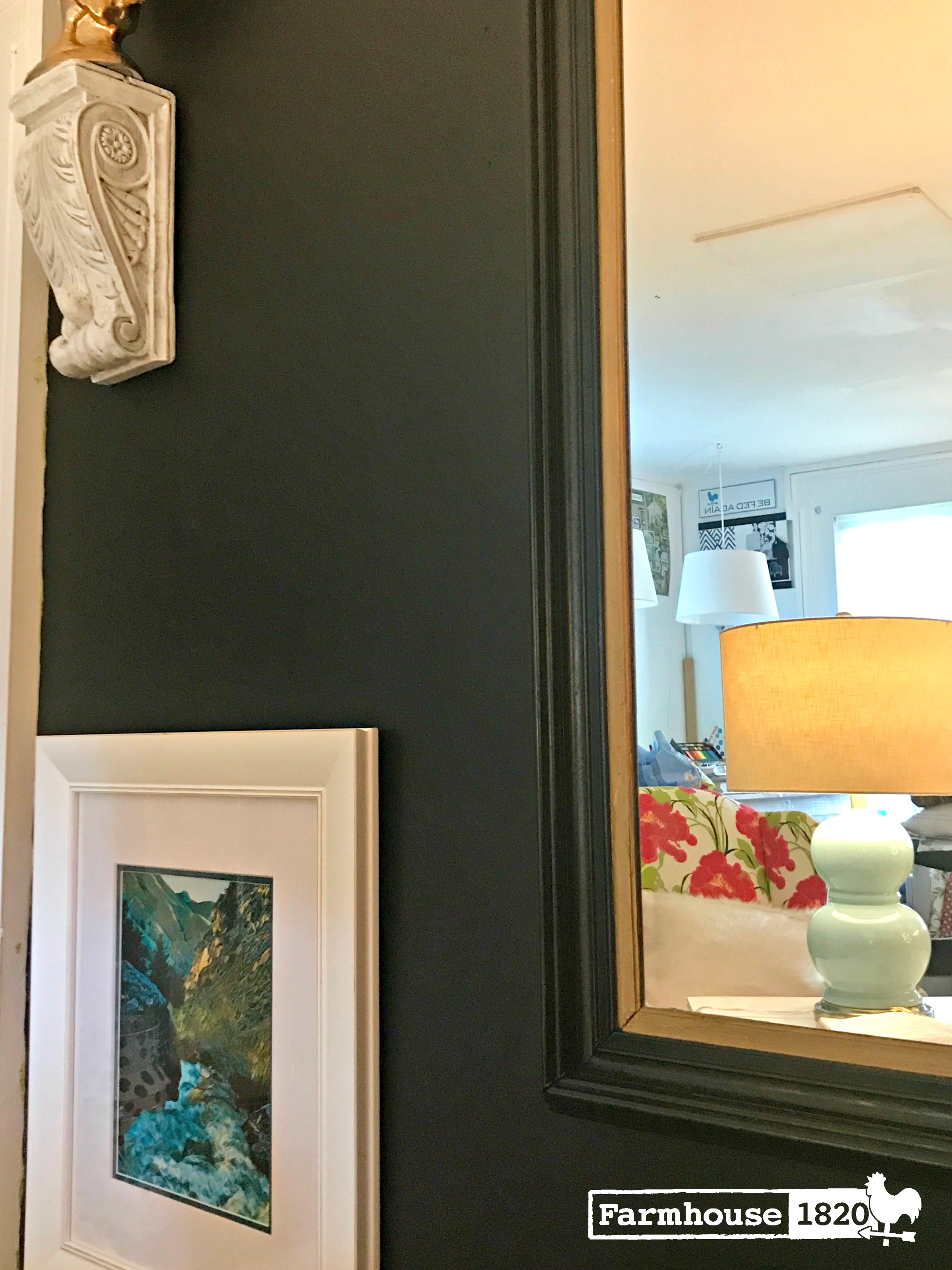 accent wall - using a mirror to bounce light, brightens up a room