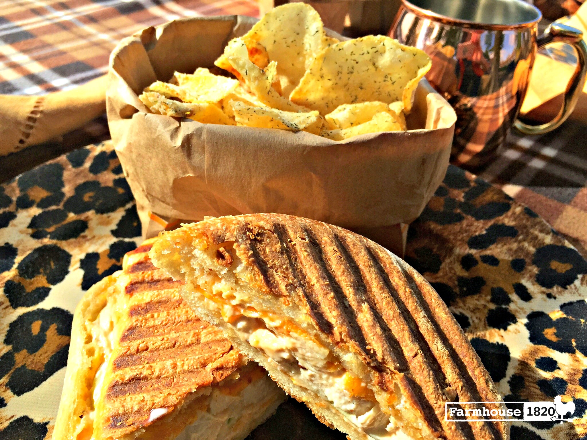 picnic - grilled chicken panini with chips - perfect picnic food