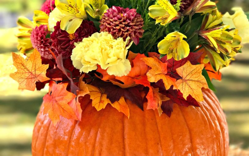 How To Create An Easy And Elegant Fall Pumpkin Floral Arrangement