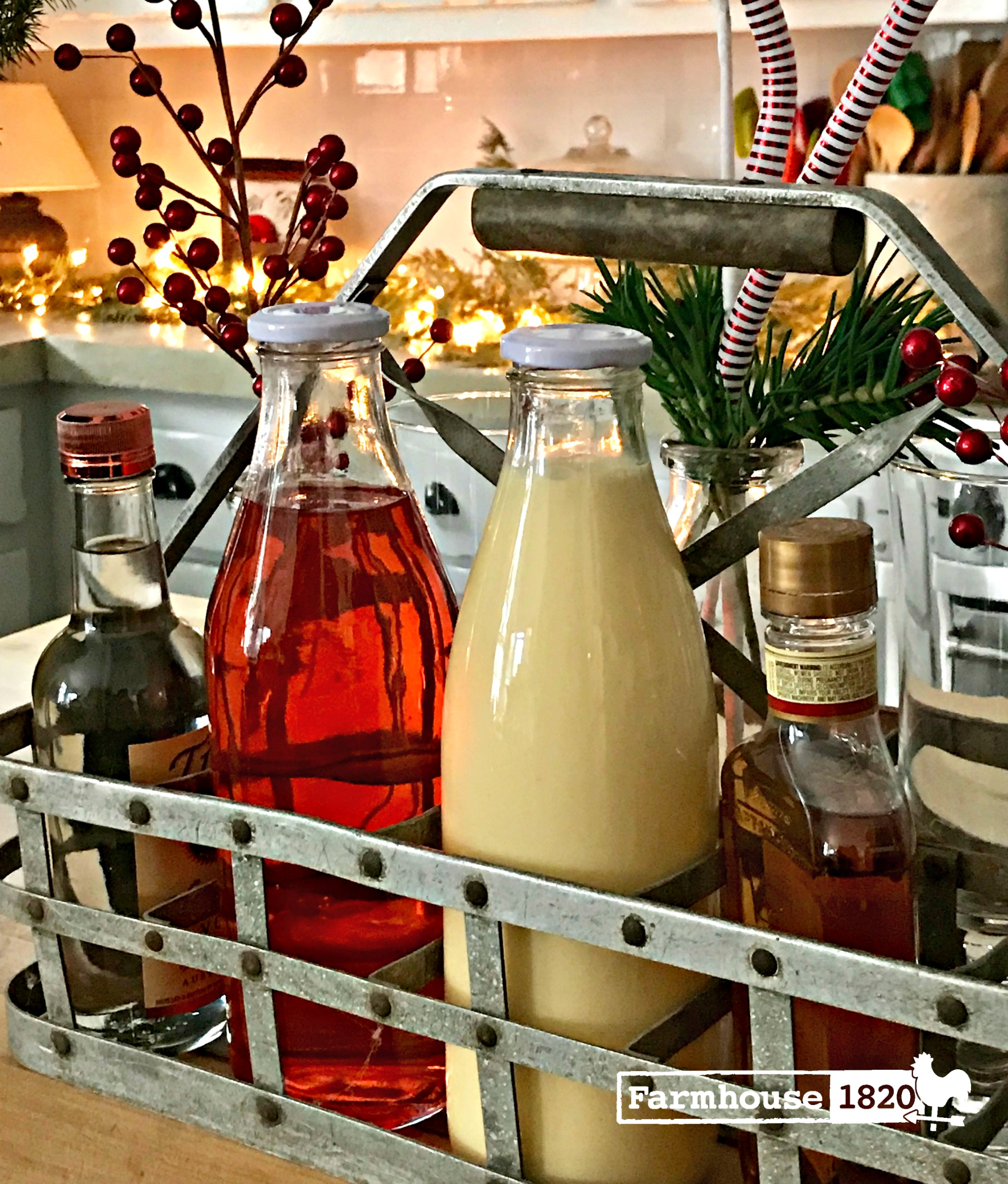 Drink Station - a milk crate filled with Christmas Eve drinks