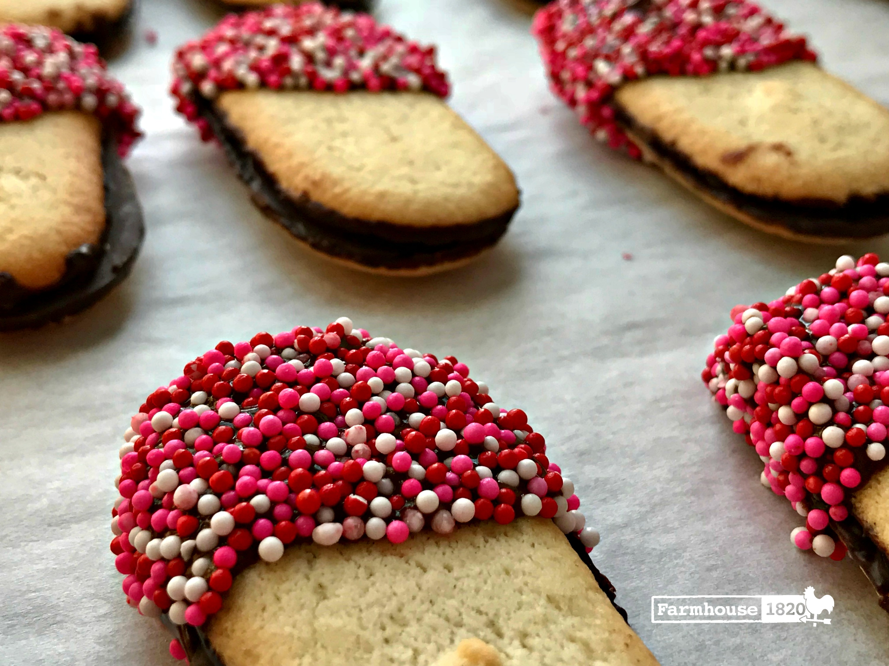 Valentine's Day cookies - chocolate dipped