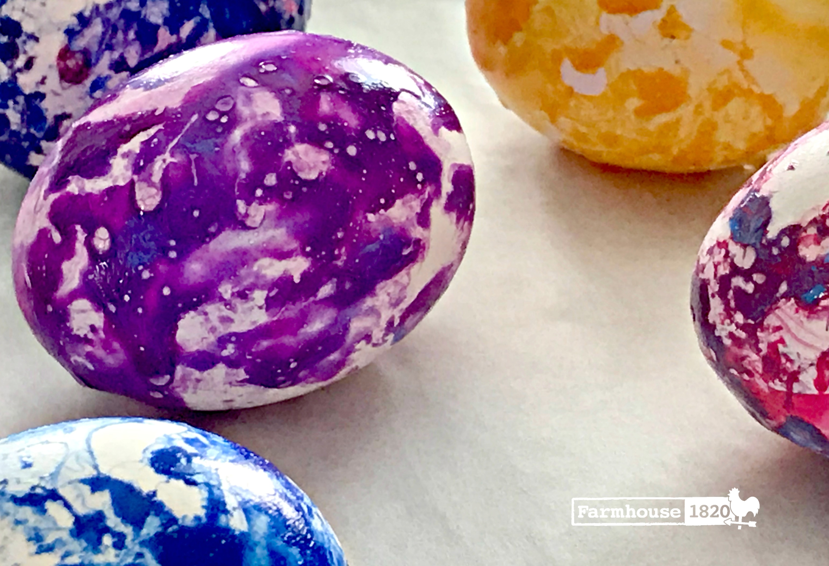 eggs - marbleized, place on parchment paper to dry