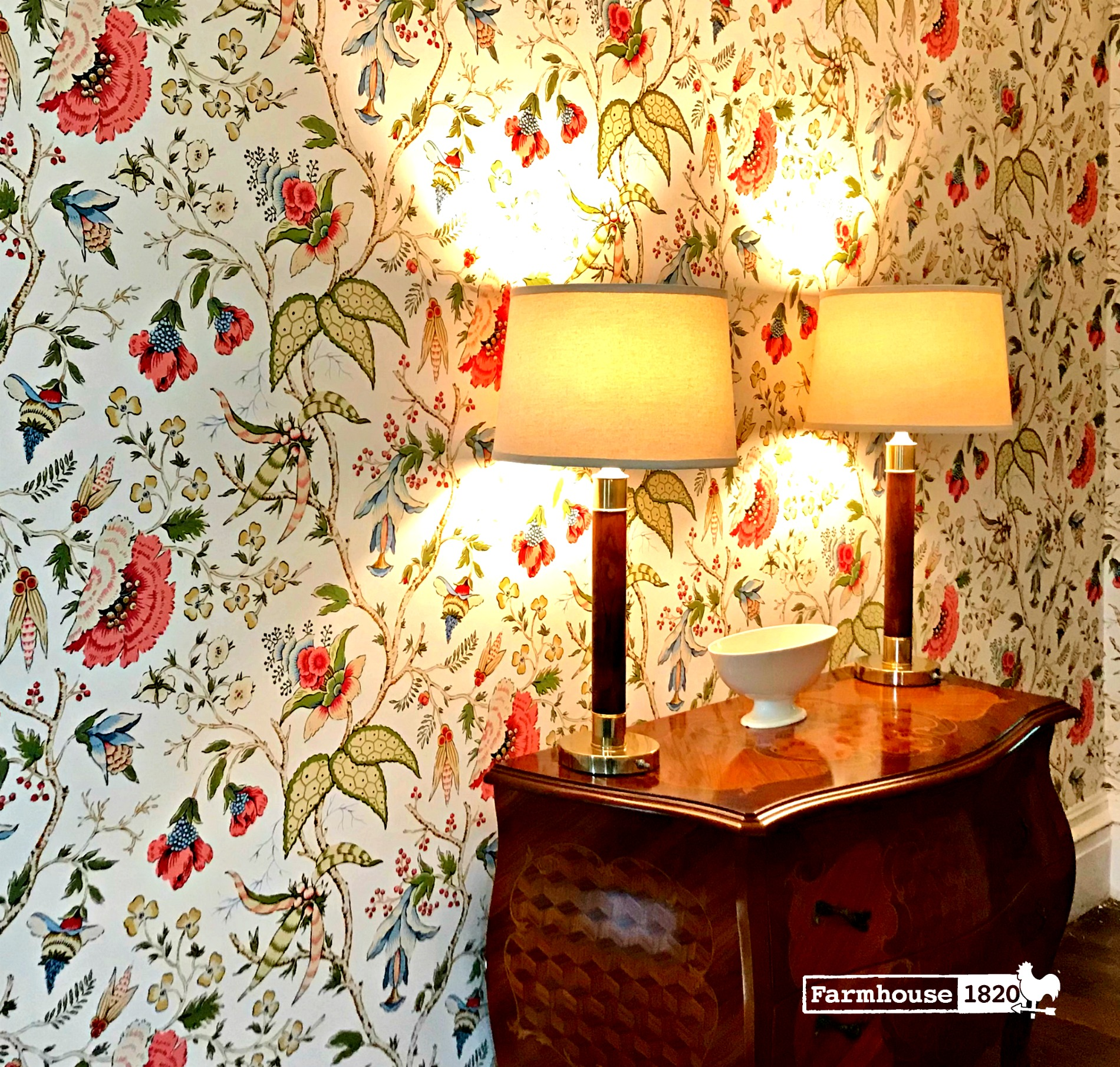 The Foyer - beautiful floral wallpaper feels so welcoming