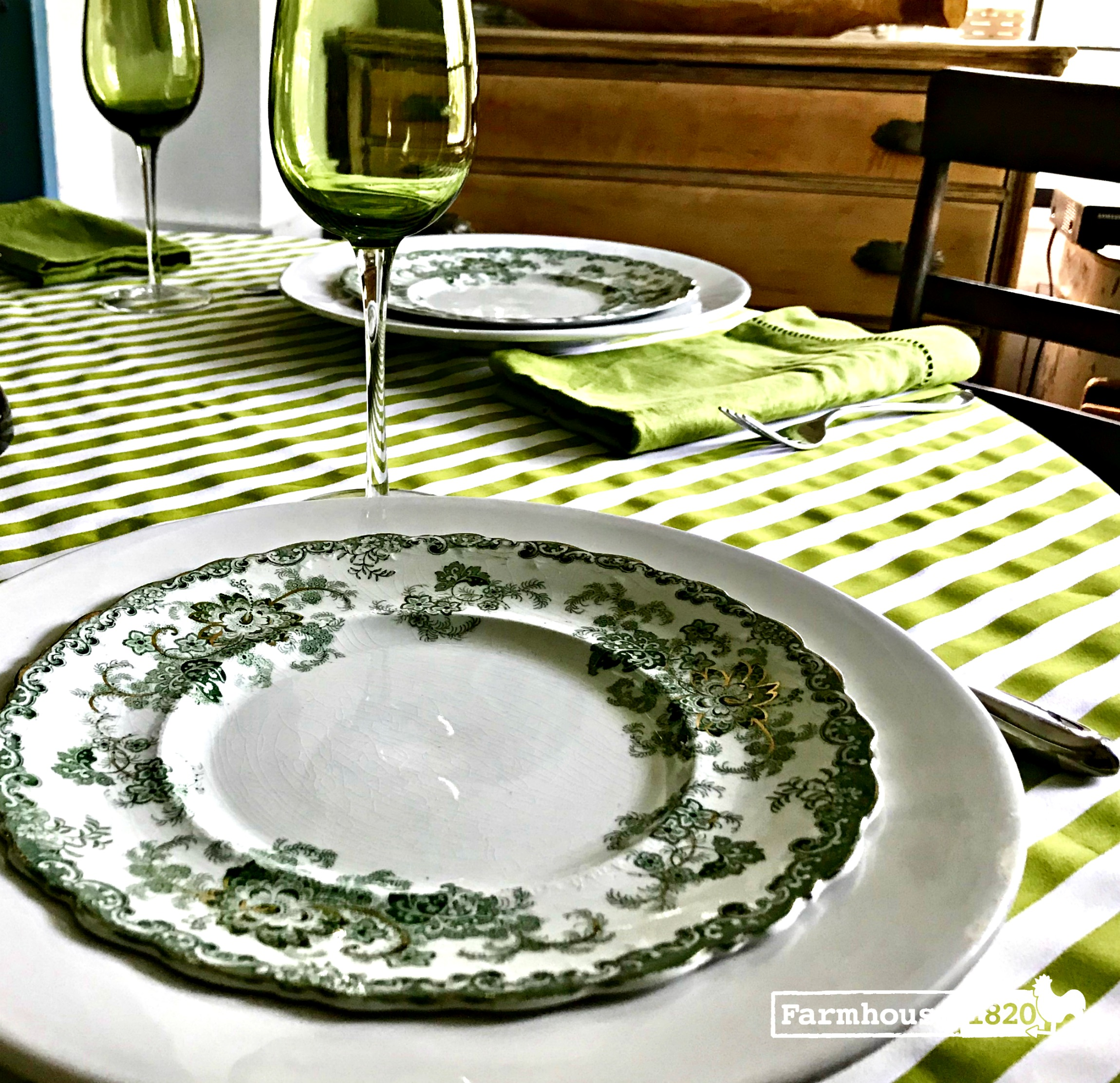 CLFair finds 2018 - a gorgeous green transferware placesetting