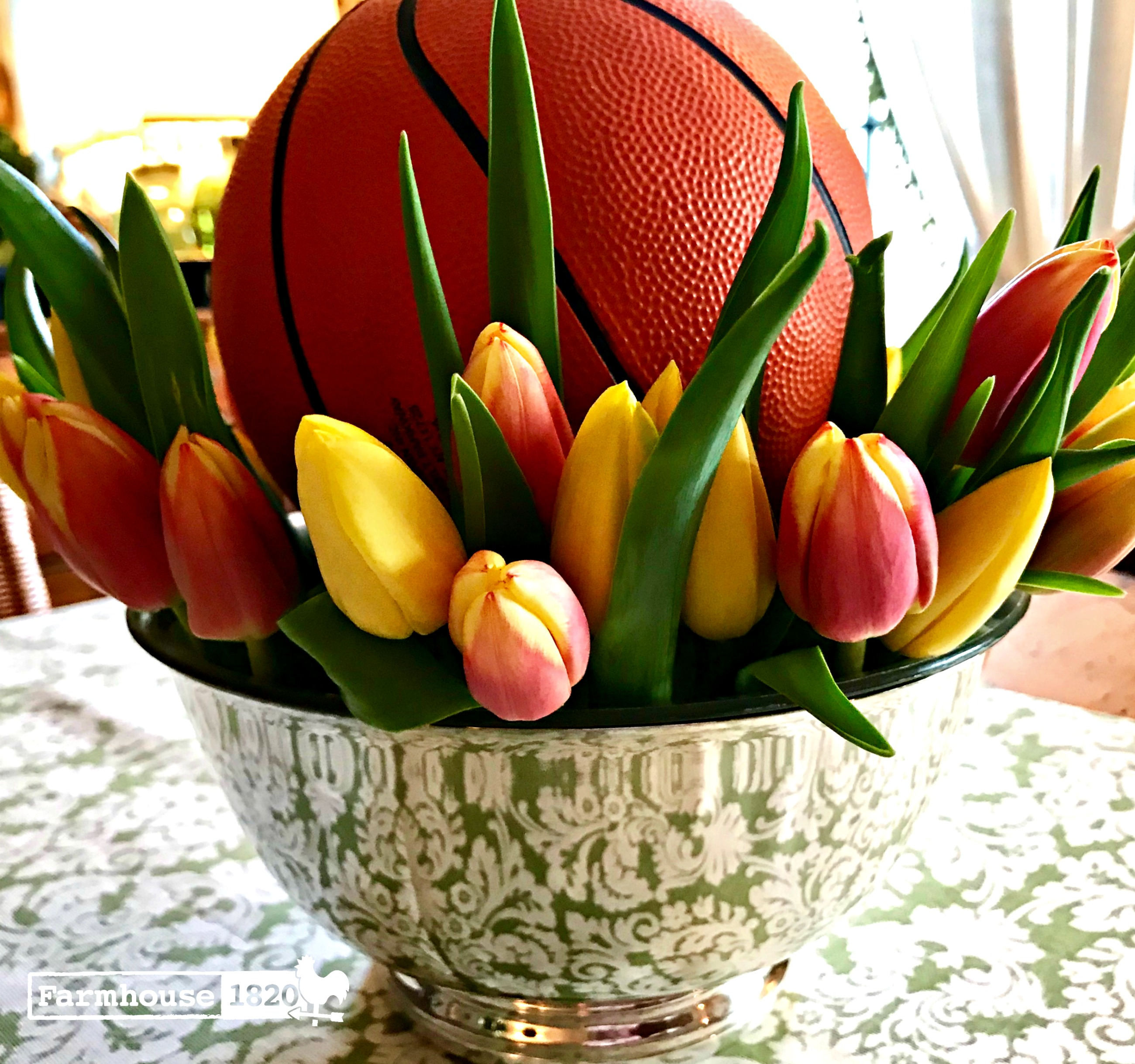 March Madness - a floral arrangement with tulips and a basketball