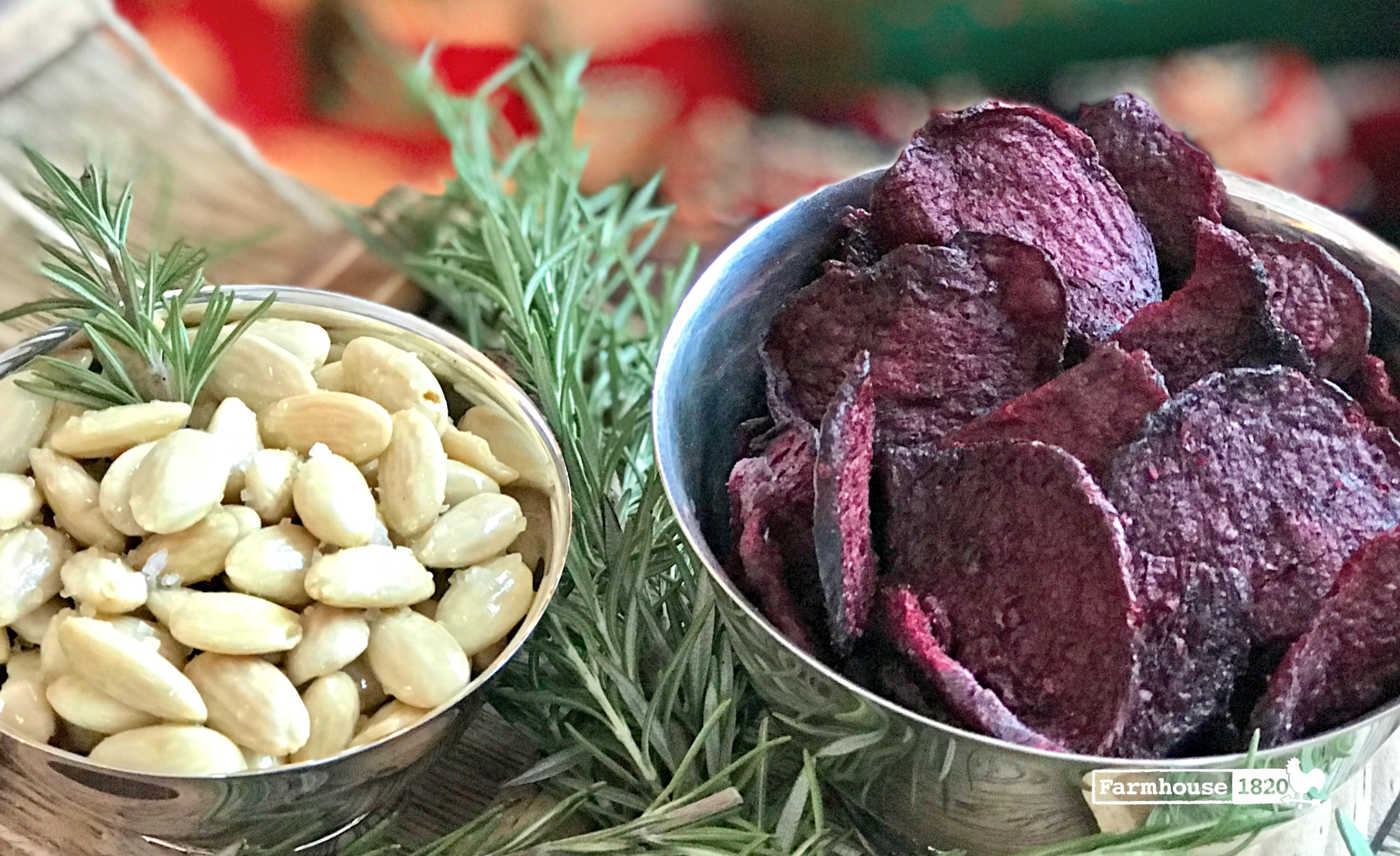 holiday entertaining - rosemary infused almonds and beet chips