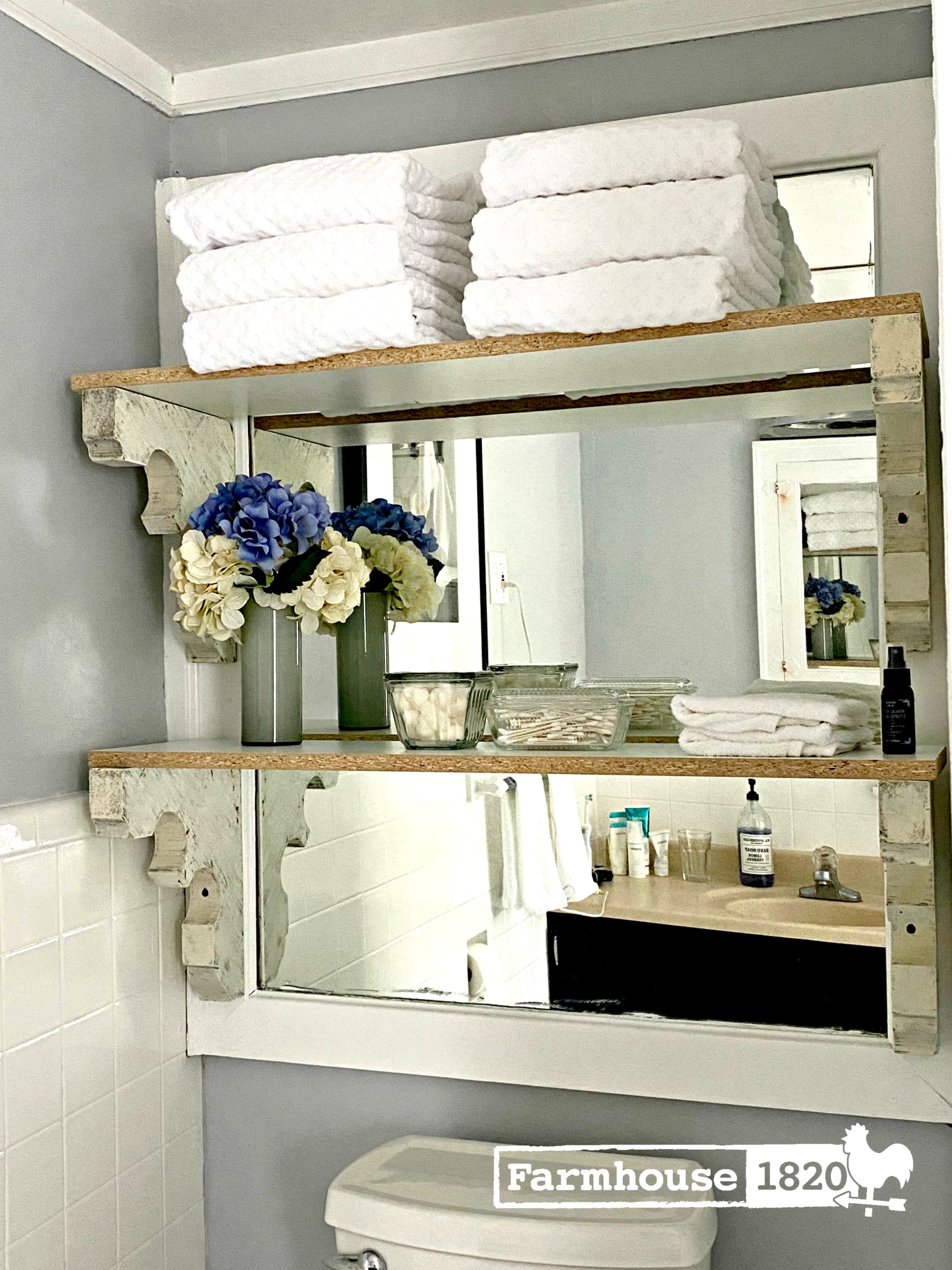 bathroom - storage shelves using vintage corbels and modern shelving