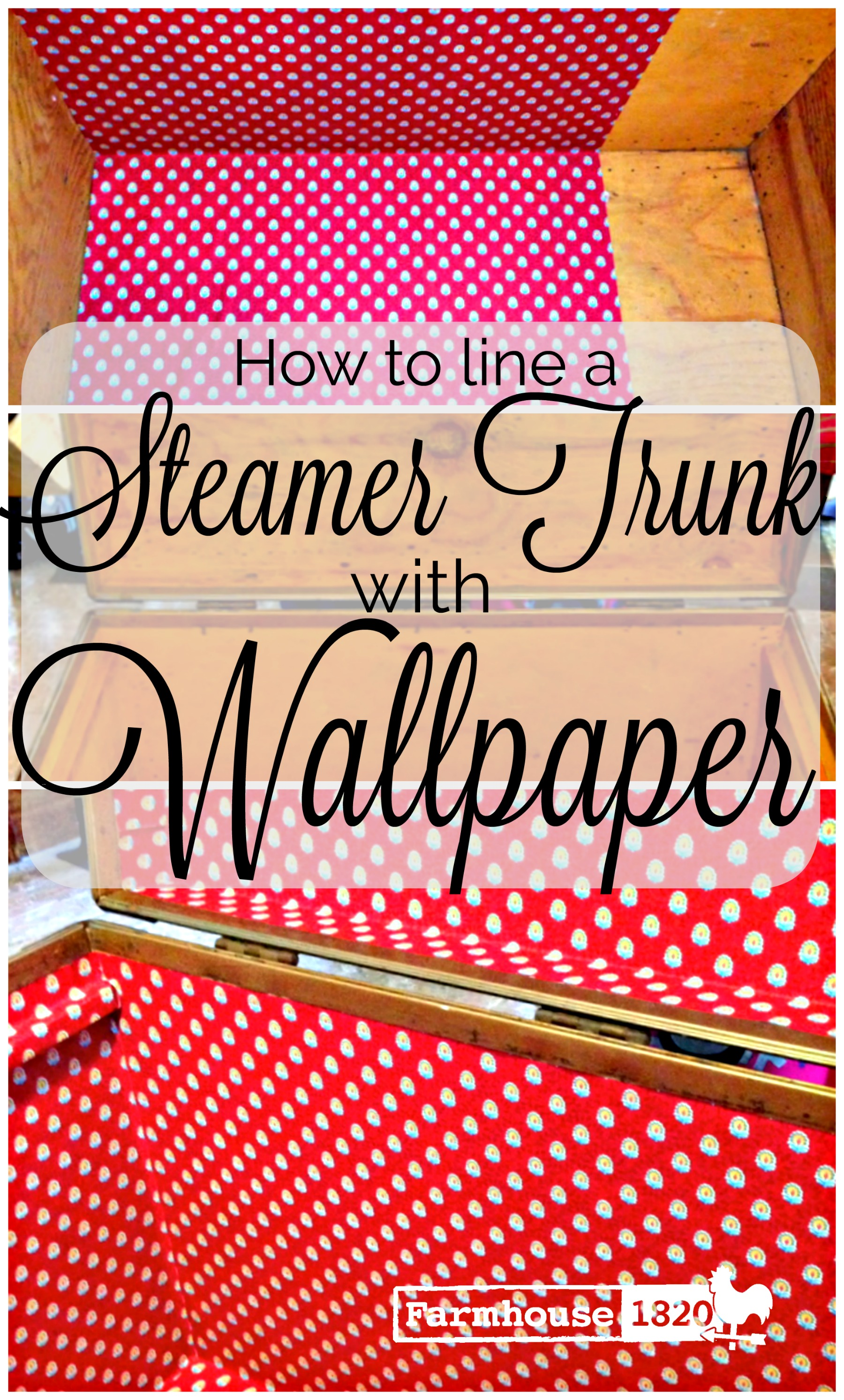 Pinterest - how to line a steamer trunk with wallpaper
