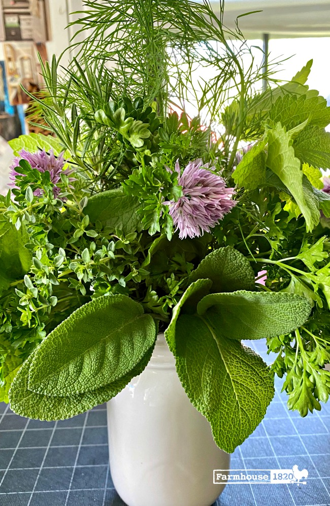fresh herbs - how to make a fresh herb floral arrangement