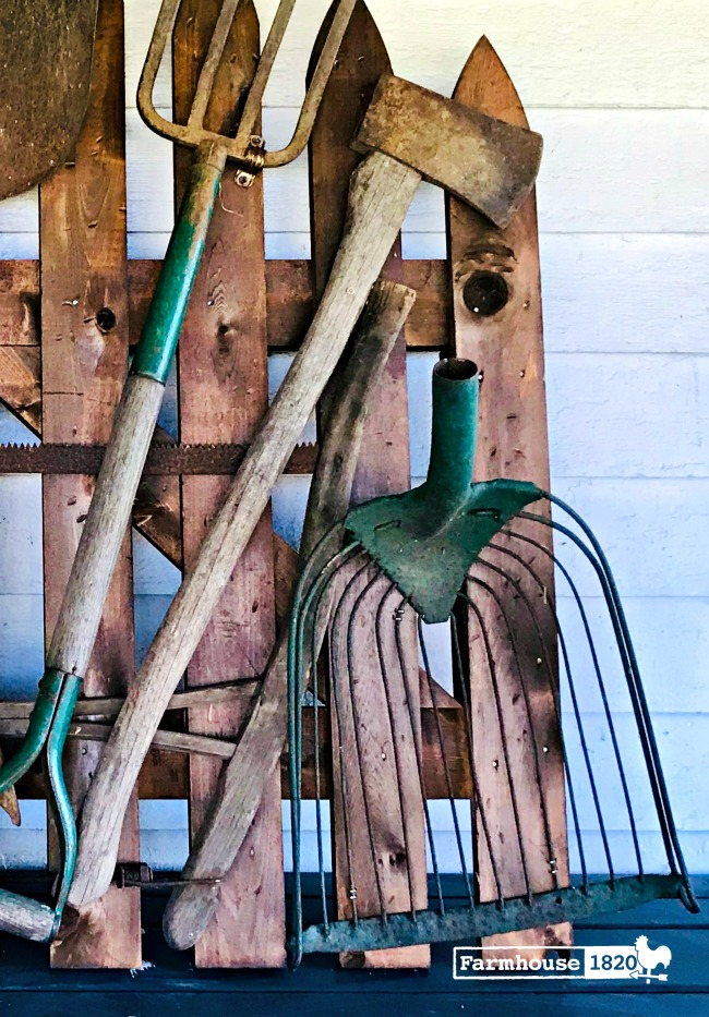 garden gate - how to attach antique tools to a wooden gate