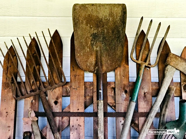 garden gate - how to repurpose a wooden gate using antique garden tools